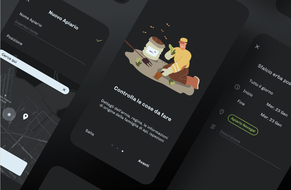 Schermate app dark mode