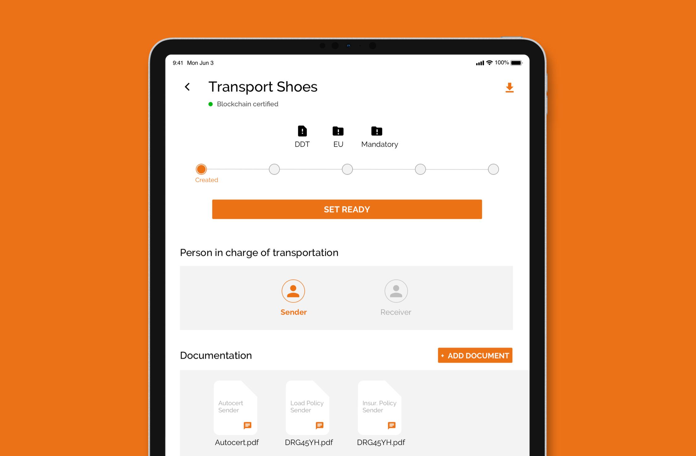 Funzionamento app da tablet