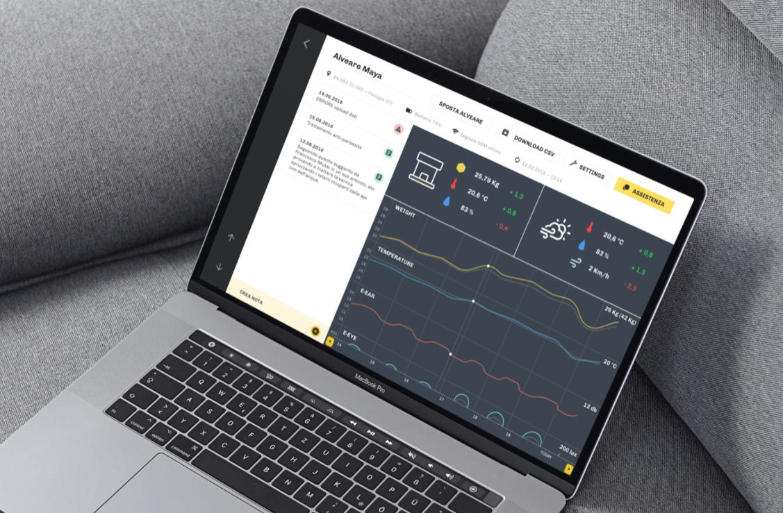 Laptop con web app