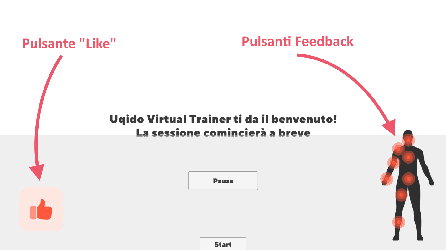 Begininnig screen of Uqido Virtual Trainer