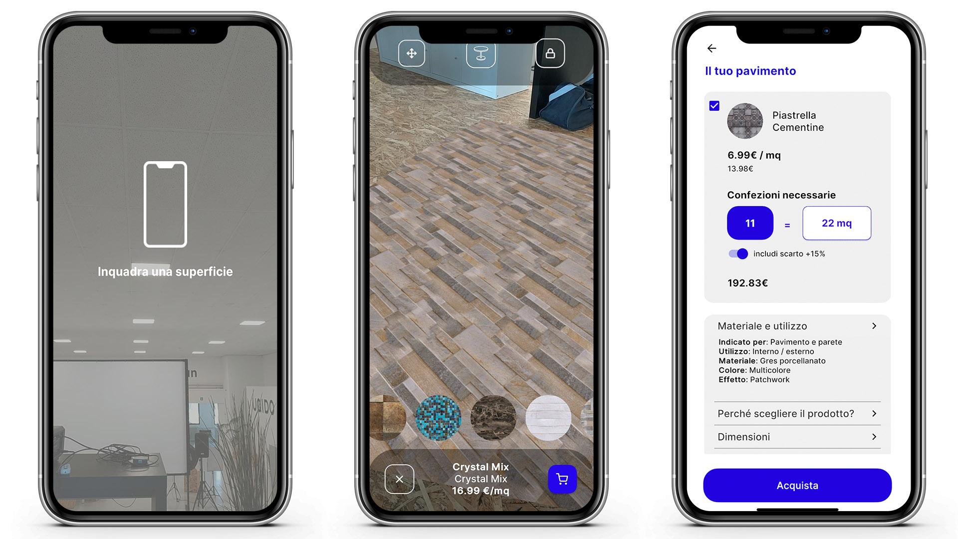 Schermate utilizzo dell'app per posizionare pavimenti